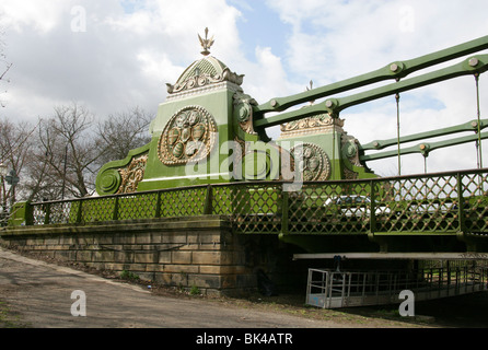 The South End of Hammersmith Suspension Bridge on the River Thames - Stock Image