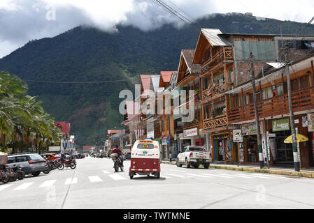 Oxapampa, Peru: Dec 31, 2018: Alpine buildings in the Peruvian town of Oxapampa - Stock Image