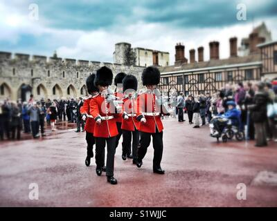 Changing of the guard at Windsor Castle - Stock Image