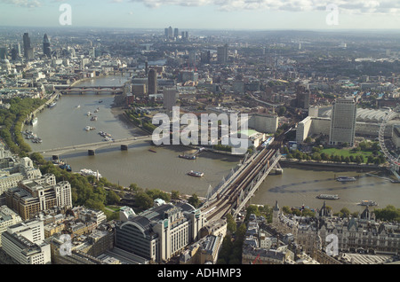 Aerial view of Hungerford Bridge and Waterloo Bridge over the River Thames in London, including the Royal Festival Hall - Stock Image