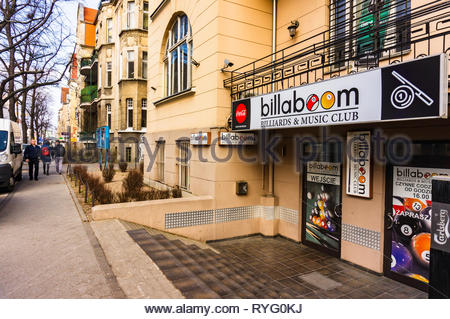 Poznan, Poland - March 1, 2019: Front of a Billaboom billiard and music club in the city center. - Stock Image