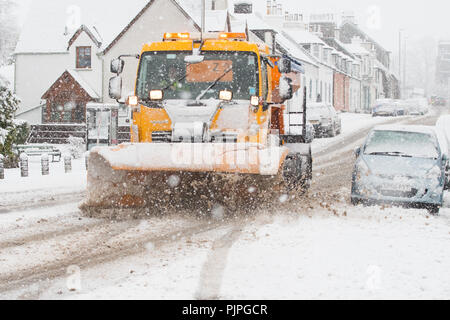 snow plough in Scotland - Buchlyvie, Stirlingshire, Scotland, UK - Stock Image