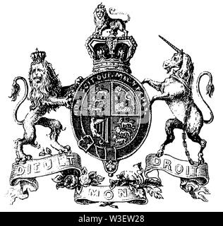 Coat of arms of Great Britain, ,  (cultural history book, 1875) - Stock Image