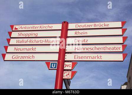 Red on white signs in Cologne - Stock Image