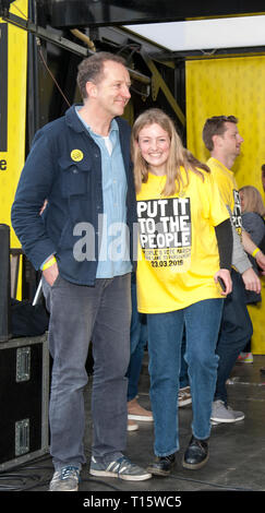 London, UK. 23rd Mar, 2019. Tom Baldwin, People's March director of communcations, at the People's Vote March and rally, 'Put it to the People.' Credit: Prixpics/Alamy Live News - Stock Image