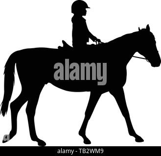 child riding horse silhouette- vector - Stock Image