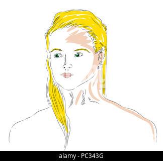 Green eyed girl.  Blond beautiful green eyed pretty girl. - Stock Image