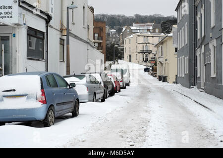 Weston super mare. UK. 2nd March, 2018. Almost impassable road and hill in the centre of town after heavy snowfall. - Stock Image
