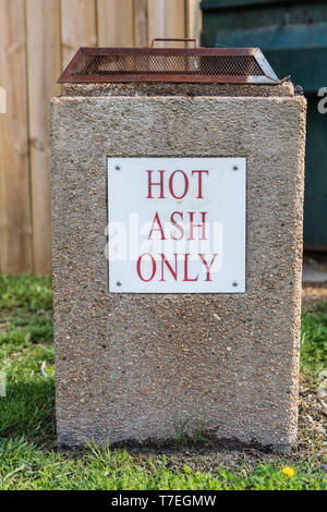 LIMESTONE, TN, USA-4/26/19:  A hot ash receptacle for disposing of campfire ashes in a campground. - Stock Image