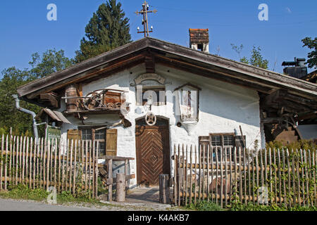 Traditional Old Grinder Mill In Unterammergau - Stock Image