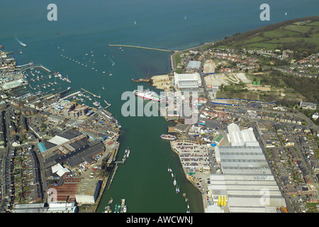 Aerial view of Cowes & East Cowes on the Isle of Wight featuring the ferry terminal, boat yards & the Floating - Stock Image