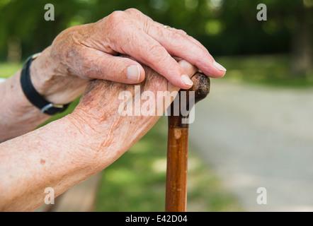 Senior woman's hands, holding walking stick - Stock Image