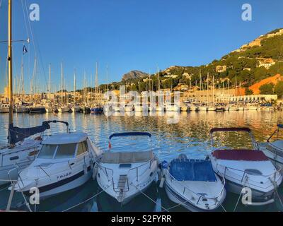 Early morning view to marina and port, Javea, Xabia, Costa Blanca , Spain - Stock Image