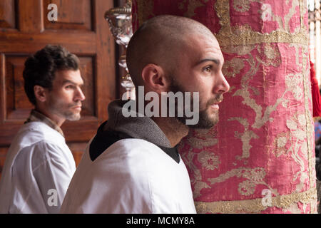 Tenerife, Canary Islands, clergy preparing in the Cathedral of San Cristobal to lead the Palm Sunday Holy Week procession through the streets of La Laguna. - Stock Image