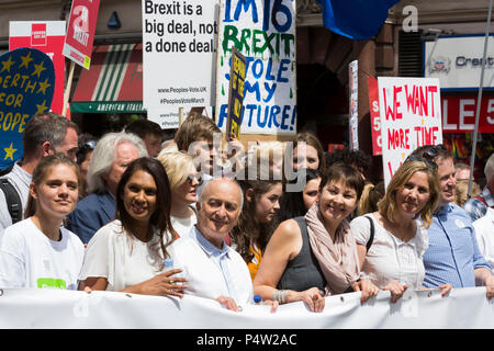 London, UK. 23 June 2018.Anti-Brexit march and rally for a People's Vote in Central London with Gina Miller, Sir Tony Robinson, Caroline Lucas - Stock Image