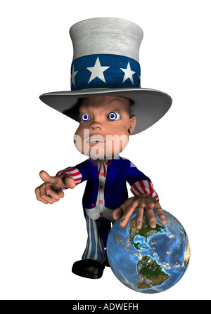 National figure Uncle Sam with the hand on the globe as symbol for control and the influence of the USA on the world - Stock Image