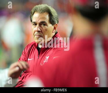 Glendale, AZ, USA. 11th Jan, 2016. Nick Saban Head Coach of Alabama during the 2016 College Football Playoff National - Stock Image