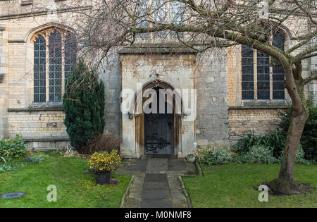 Side doorway and wall of St George's Church, Stamford, Lincolnshire, England - Stock Image
