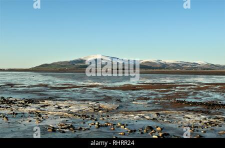 UK Sandscale Haws Nature Reserve, Roanhead Cumbrian Coast. View across the Duddon Estuary towards Black Combe and the distant English Lake District. - Stock Image