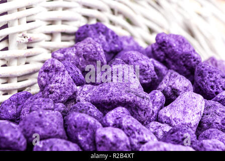 Lavender spa -colored and fragrant lavender pebbles - Stock Image