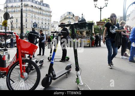 Escooters invasion - Paris - France - Stock Image