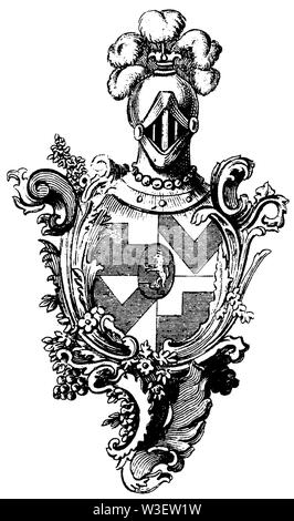 Coat of arms: 18th century, ,  (cultural history book, 1875) - Stock Image