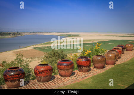 View of the Irrawaddy River near Bagan - Stock Image