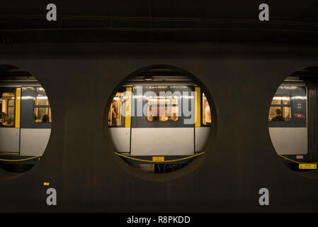 Horizontal view of the Metro in Milan, Italy. - Stock Image