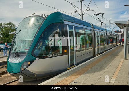 Tram waiting at the end of the line at Hucknall tram stop on the northern edge of Nottingham - Stock Image