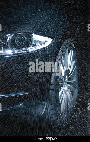 driving in rain - Stock Image