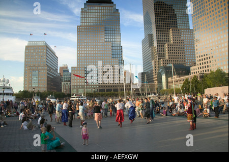Ukrainian dancers in Battery Park City in New York - Stock Image