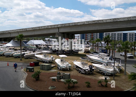 The annual yacht and boat show at The Wharf in Orange Beach, Alabama, USA. - Stock Image