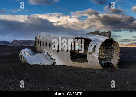 DC-3 US Navy Plane Crash Wreckage Site in Vik, Iceland - Stock Image