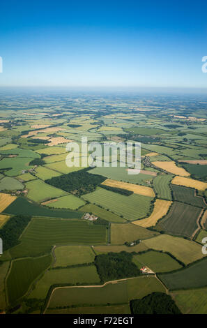 Aerial view over the English countryside in the summer UK - Stock Image