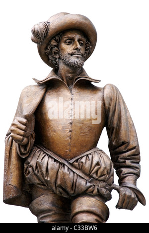 Sir Walter Raleigh statue by Bruno Lucchesi (1975) located in Raleigh, NC - Stock Image