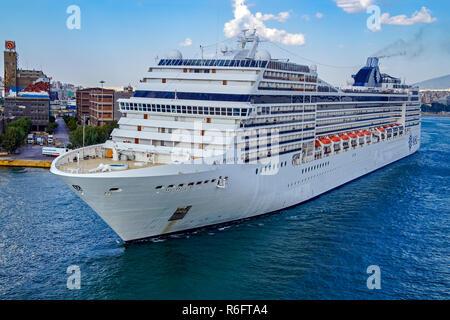 MSC cruises MSC Poesia in port of Piraeus Athens Greece Europe - Stock Image