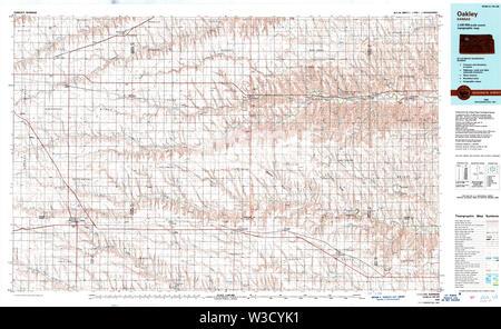 USGS TOPO Map Kansas KS Oakley 512918 1985 100000 Restoration - Stock Image