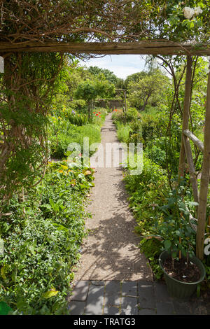 Garden path, view through a garden entrance - Stock Image