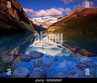 Lake Louise and the Victoria Glacier, Banff National Park ,Alberta ,Canada - Stock Image