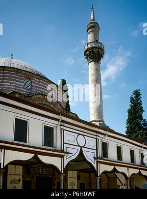 Turkey. Bursa. Emir Sultan Mosque. First built in 14th century. It was rebuilt in 1804 upon the orders of Ottoman Sultan Selim III, and re-built again in 1868. View of the facade in Rococo style. - Stock Image