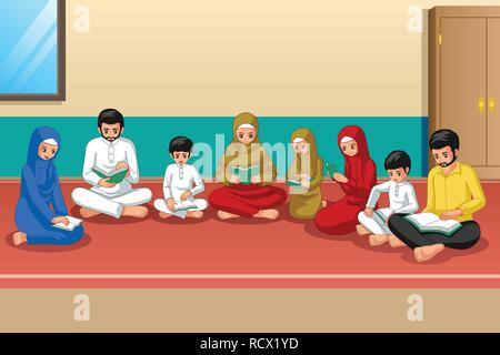 A vector illustration of Muslim Family Studying Quran and Praying at Home - Stock Image