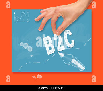 A hand picking up a business to customer concept on a colorful drawing board. - Stock Image
