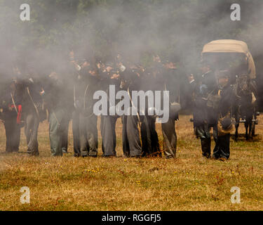 Duncan Mills, CA - July 14, 2018: Reenactors at a Civil war reenactment. The Civil War Days is one of the largest reenactment events on the West Coast - Stock Image