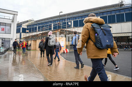 Brighton, UK. 18th Feb, 2019. Brighton Railway Station was relatively quiet this morning as commuters and travellers heading to and from London had to use Rail Replacement buses between Brighton and Three Bridges because of the Brighton Main Line Improvement Project which is taking place between 16th and 24th February Credit: Simon Dack/Alamy Live News - Stock Image