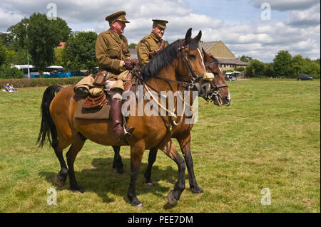 World War One living history reenactors officers on horseback at Hay-on-Wye Powys Wales UK - Stock Image