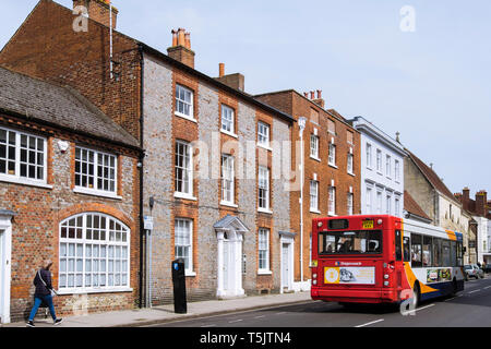 A Stagecoach bus travels along West Street, Chichester, West Sussex, England, UK, Britain - Stock Image