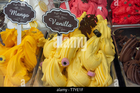 Vanilla ice cream in display cabinet at Caffe Concerto South Molton Street London UK - Stock Image