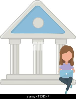 Woman and bank design, shopping online store ecommerce media market and internet theme Vector illustration - Stock Image