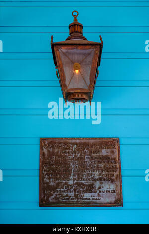 Commander's Palace Restaurant dedication plaque at the entrance of the building, New Orleans Garden District, New Orleans, Louisiana, LA, USA. - Stock Image