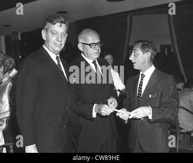 Whitney Tower, Sonny Werblin and Eddie Arcaro, The Jockey Club, Miami, Florida, 1968 - Stock Image
